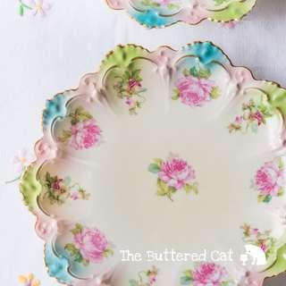Beautiful antique porcelain plate, pretty pastels of pink, blue and green, sweet peas and roses