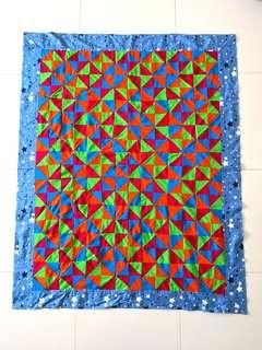 Patchwork Blanket (百纳被)-triangle pattern with Blue stars Border - Christmas gifts for your love ones.