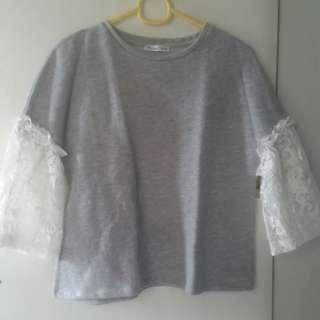 Zara Gray Top With Lace
