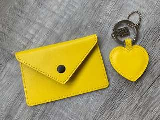 Neon Yellow Card Holder with Matching Keychain
