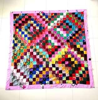 Patchwork Blanket (百纳被) - square pattern with pink minnie border-Christmas gifts for your love ones.