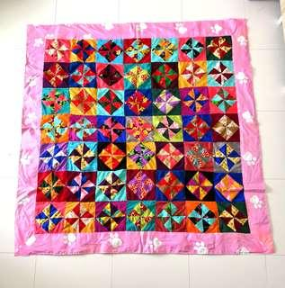 Patchwork Blanket (百纳被) - windmill pattern with pink paws border-Christmas gifts for your love ones.