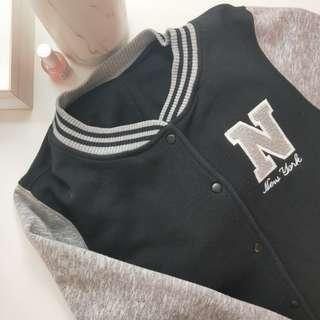 Black and grey baseball jacket