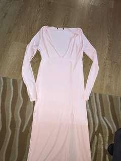 Meshki brand new baby pink midi long sleeve plunge dress size 12 14 Large unworn