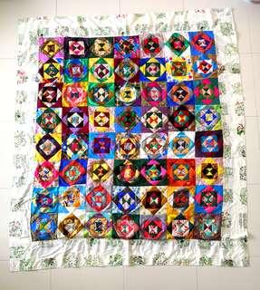 Patchwork blanket (百纳被) with white little garden border-Christmas gifts for your love ones.