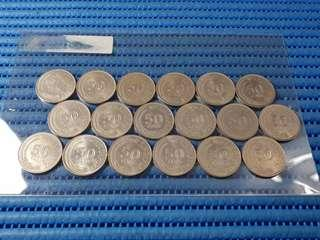 1967-1984 Singapore 50 Cents Lion Fish Coin ( Lot of 18 Pieces )