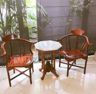 Vintage rosewood Chairs Peranakan marble side table