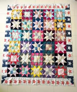 Patchwork blanket (百纳被) - stars pattern with stars Border-Christmas gifts for your love ones.
