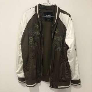 Khaki embroidered bomber jacket