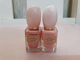 Miniso nail polish pastel pink and glittery pink