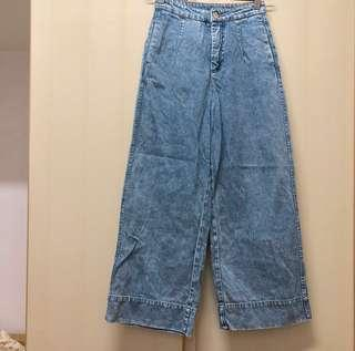 from Monki blue denim pocket high-rise long wide pants w 32 有袋 高腰 藍色 牛仔 長褲 闊腳褲 寬褲