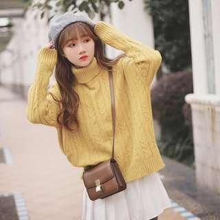 [NEW] Korean Autumn Winter Sweater Jumper High Neck Top