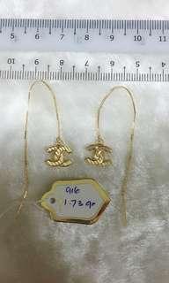 🚚 916 Gold CC Dangling Earrings