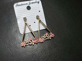 Triangular Floral Earrings