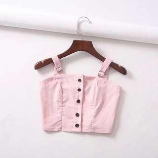 🚚 Po: pink button down cropped top