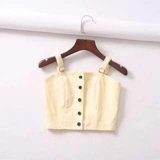 🚚 Po: yellow button down cropped TOP