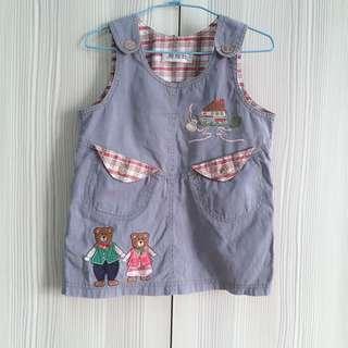 麗娃娃牛仔吊帶裙 連身裙 連身洋裝 可愛口袋 小熊刺繡造型 二手