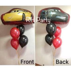 (10/11) include helium Happy birthday Car McQueen Lightning Foil Balloon ( 2 sides dual design) latex bouquet