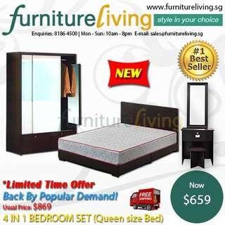 New 4 in 1 Bedroom Package Set (Bedframe/Wardrobe/Dresser/Stool) for only $578