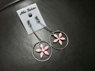 Pink Flower Long Earrings