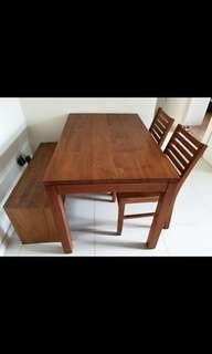 Scanteak Dining set with chairs and bench