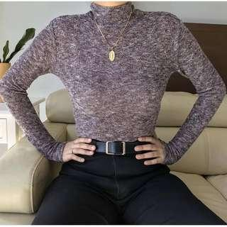 Acid Mauve Knitted Turtleneck Top