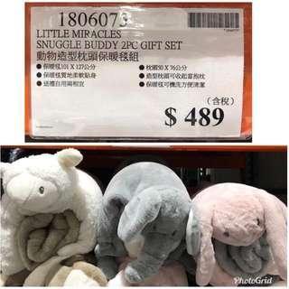 大象動物造型枕頭保暖毯組
