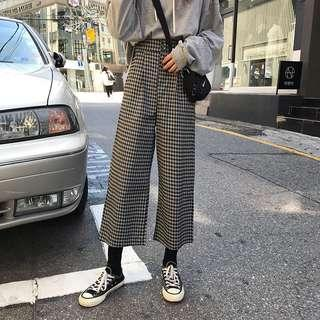(2Col) Checkered Culotte Pants