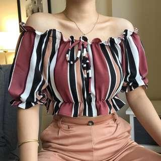 Multicolor Cropped Off Shoulder Top