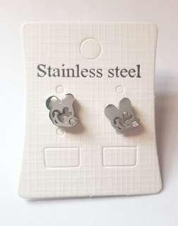 Stainless Steel Mickey Mouse with Stone Earrings