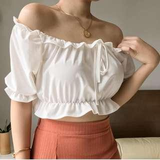 White Cropped Off Shoulder Top