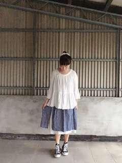 日系森林系鄉村風清新純棉碎花雙層裙
