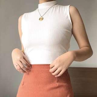Mockneck Cropped Top White