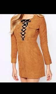 Suede Bardot Lace up dress