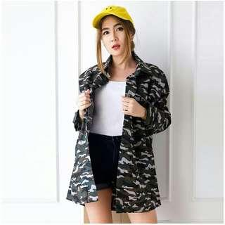 Coat Dress Loreng Army