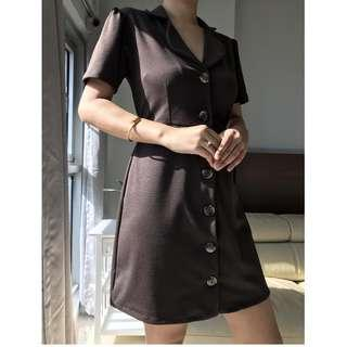 Button Down Dress in Chocolate Brown