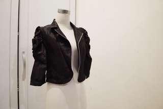 Outer / crop blazer (puffy) black / blazer / outer hitam