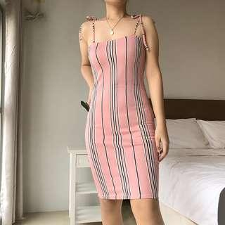 Self-tie Dress in Pink Stripes