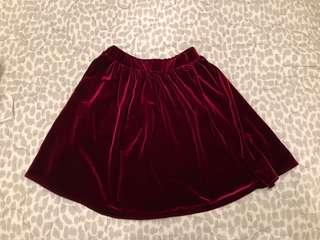 WORN ONCE American Apparel red velvet skirt (S)