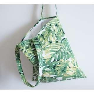 tropical leaf canvas tote