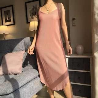 Pleated Slip Dress in Pink