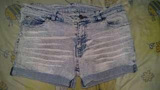 ACID DENIM GLITTER HOTPANTS