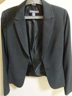 Theme深黑金斜紋西裝外套和及膝片裙 秋冬款