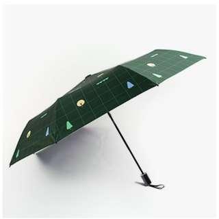 forest green printed tri-fold umbrella
