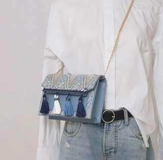 🚚 [In Stock!] Tassel Sling Bag with embroidery