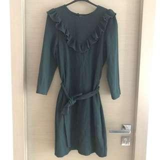 H&M green ruffles work dress 深綠色中袖連身裙返工裙
