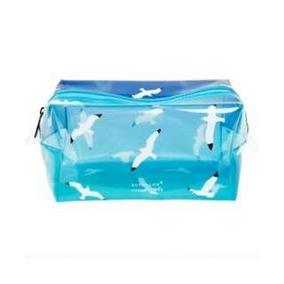 transparent cosmetic bag in blue/seagull print