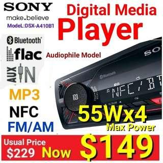 Sony Car Head Unit - USB/MP3 player with Dual Bluetooth/NFC +  FM Radio/USB/MP3. Model: DSX-A410BT Usual price :$ 229 Special: $149( Brand New in Box and Sealed ) 60 days one to one exchange warranty .