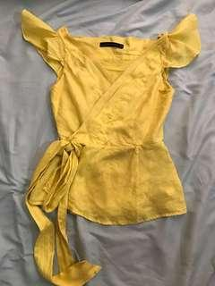 Authentic classy lemon yellow Zara woman wrap top blouse work office