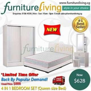 New 4 in 1 Bedroom Package Set (Bedframe/Wardrobe/Dresser/Stool) for only $628